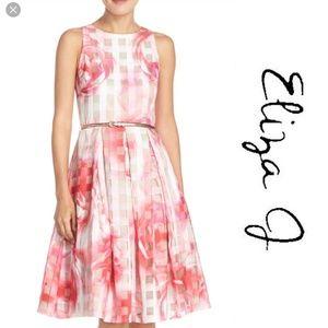 Eliza J Floral Pink Fit & Flare T Back Dress